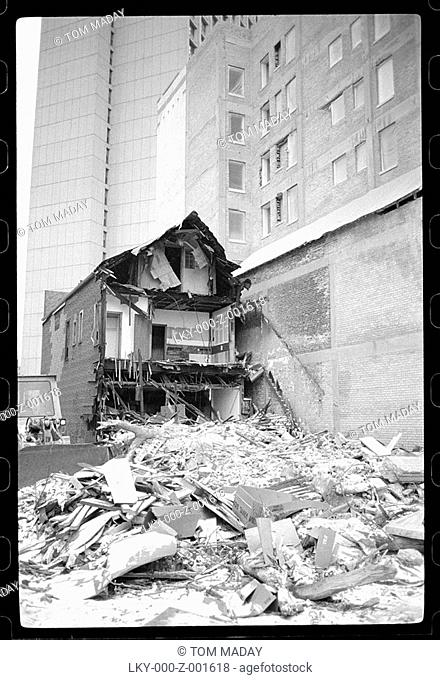 Pile of rubble outside of city building