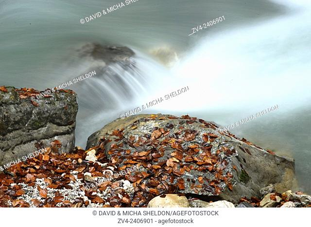 Flowing waters of Partnach Gorge in autumn, Bavaria, Germany