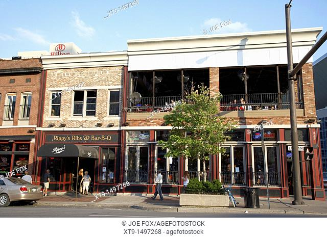 bars and restaurants on broadway downtown Nashville Tennessee USA