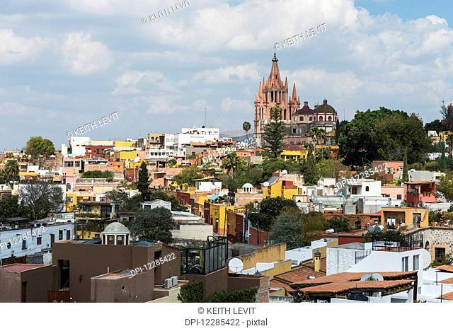 Cityscape with parish church in the distance; San Miguel de Allende, Guanajuato, Mexico