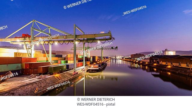 Germany, Stuttgart, Neckar, container harbor at blue hour
