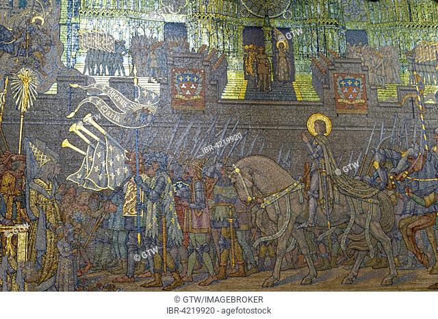 Basilica Notre-Dame de Fourvière, Mosaic of Joan of Arc arriving in Orleans, Unesco World Heritage Site, Lyon, Rhone, France
