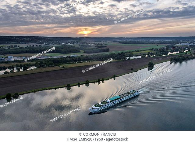 France, Eure, Saint Pierre la Garenne, Botticelli boat cruise on the Seine at the sunset (aerial view)
