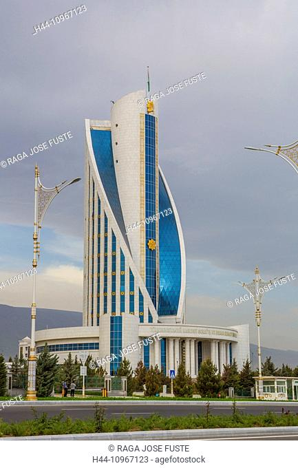 Ashgabat, Building, Turkmenistan, Central Asia, Asia, architecture, blue, city, government, marble, white