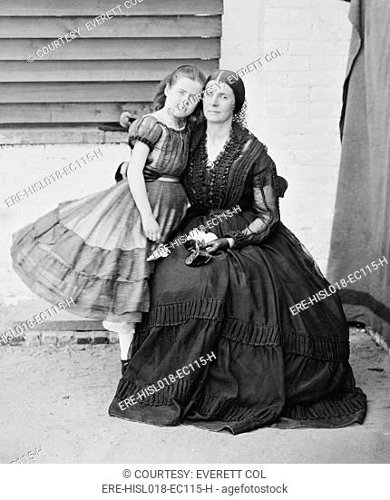 Mrs. Rose O'Neal Greenhow 1814-1864with her daughter, Confederate Spy during the U.S. Civil War, imprisoned at old Capitol