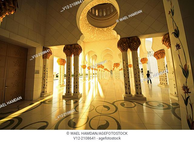 silhouette of man at Sheikh Zayed Mosque, Abu Dhabi, . United Arab Emirate