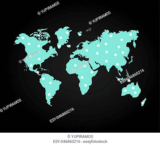 World and Map concept represented by earth and lights icon. Blue illustration