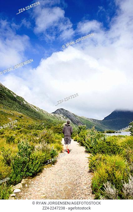 Vertical life style photo of a bushwalking man hiking along a scenic mountain trail while on an expedition to Dove Lake in Cradle Mountain, Tasmania, Australia
