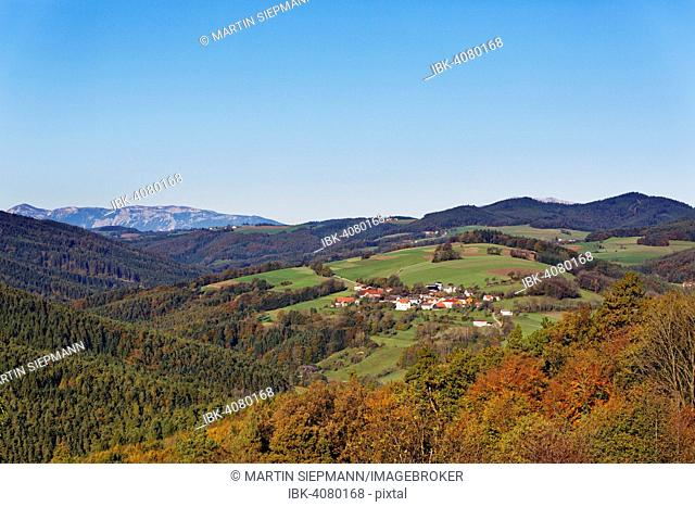 Village of Spratzeck, Bucklige Welt region, Lower Austria, as seen from Landsee, Burgenland, Austria