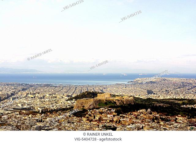 GRC , GREECE : Athens with the Acropolis , the main temple is the Parthenon , 06.02.2016 - Athens, Attica, Greece, 06/02/2016