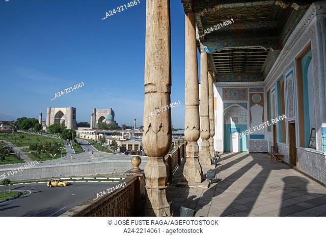 Uzbekistan , Samarkand City ,The City from Khazret Khyzr Mosque ,Bibi Khanym Mosque