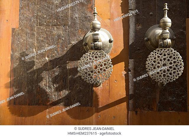 Morocco, Middle Atlas, Fez, Imperial City, Fez El Bali, medina listed as World Heritage by UNESCO, door knocker of the coranic school Medersa Bou-Inania