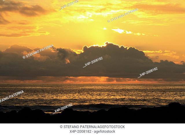 Sunset, La Loberia, Beach, San Cristobal Island, Galapagos Islands, Ecuador