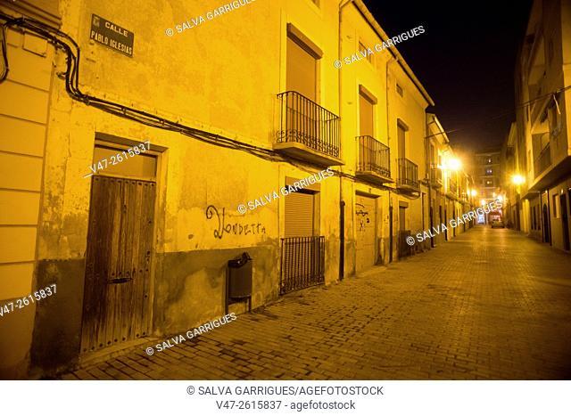 Night shot Pablo Iglesias street of Old Almansa, Albacete, Castilla La Mancha, Spain