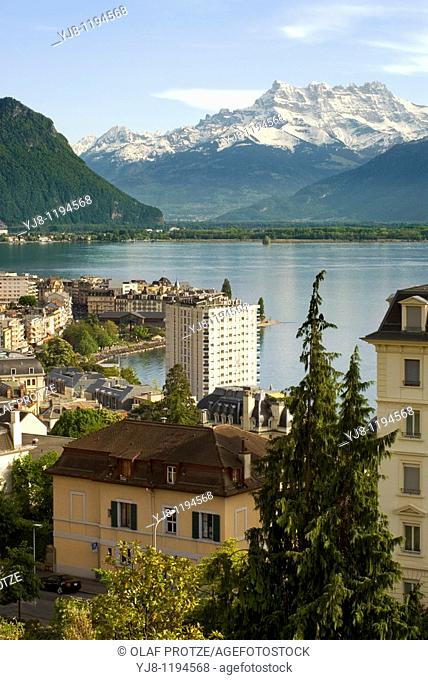 View over Montreux at the Lake Geneva in Switzerland