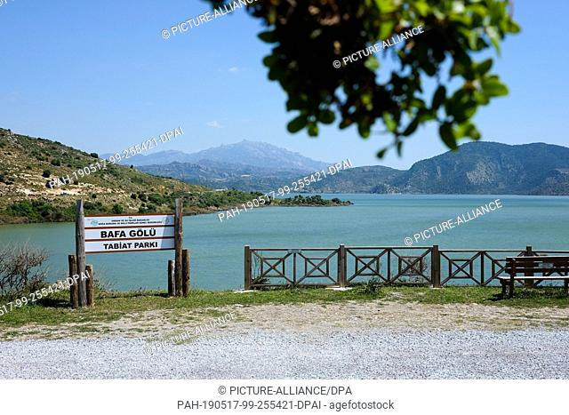 21 April 2019, Turkey, Didim: View over Lake Bafa to the Latmos Mountains. The water is an inland lake on the west coast of Turkey, formed from a former estuary