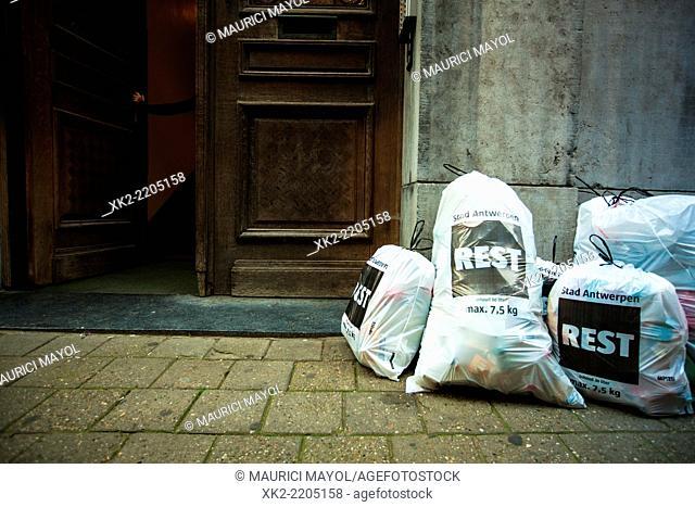 pile of trash in the street, Antwerp, Belgium