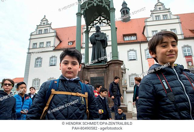 The boys of the Sistine Chapel Choirvisit the Martin Luther memorial on a tour throughWittenberg, Germany, 18 May 2016