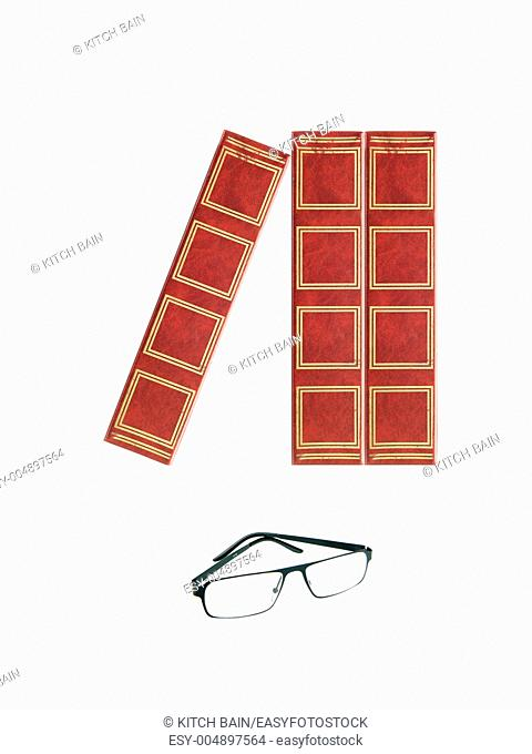 Book stacks isolated against a white background