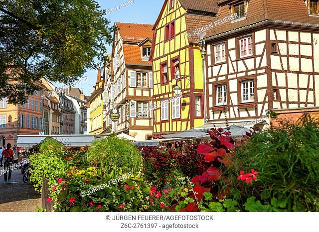 Colmar, scenic picturesque town, at the scenic route of Vine Alsatian, Alsace, France