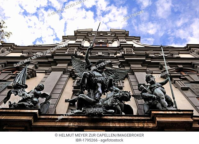 St. Michael's group by Hans Reichle on the armory, built in 1602-1607, Zeugplatz 4, Augsburg, Bavaria, Germany, Europe