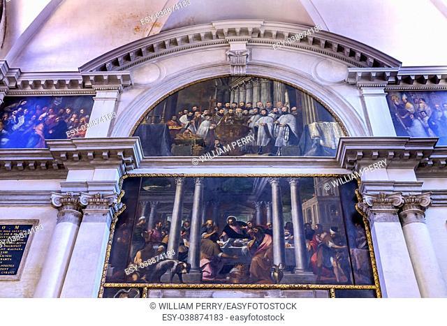 Santa Maria Giglio Zobenigo Church Basilica Paintngs Venice Italy. Founded in the 9th Century Rebuilt in 1600s