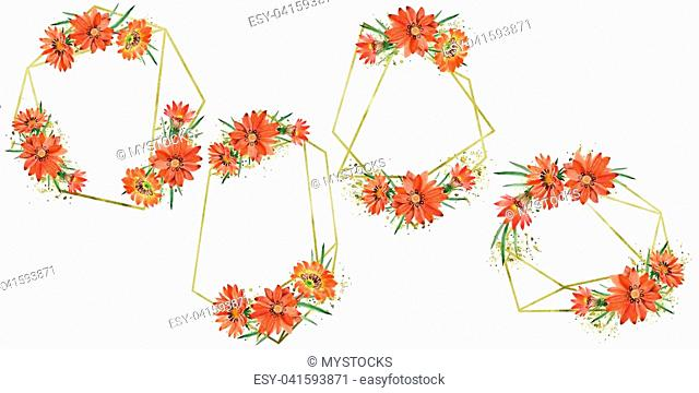 Watercolor orange gazania flowers. Floral botanical flower. Frame border ornament square. Aquarelle wildflower for background, texture, wrapper pattern