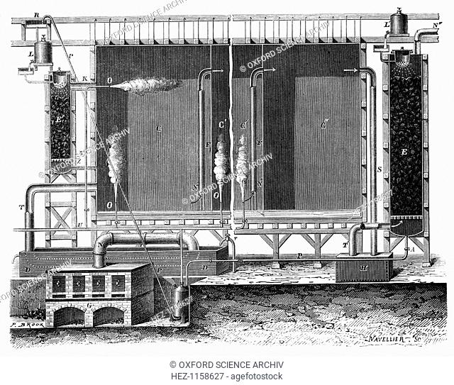 Sectional view of Gay-Lussac's lead chambers and absorption towers, 1870. These were for the large-scale production of sulphuric acid also (Oil of Vitriol or...