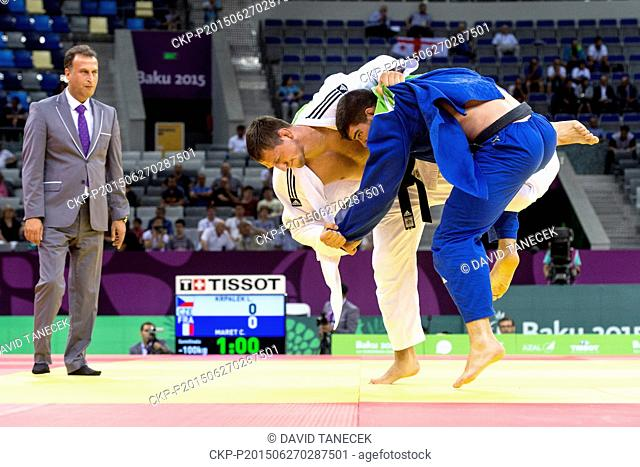 Lukas Krpalek (in white) from Czech Republic and Cyrille Maret from France fight during the Men's Judo under 100kg in Heydar Aliyev Arena at the Baku 2015 1st...