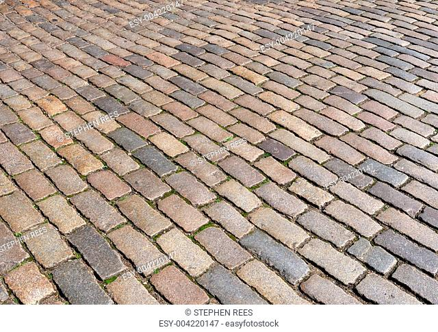 London cobblestone street close up