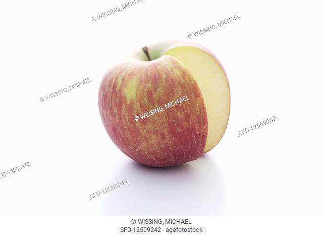 A Fuji apple, sliced
