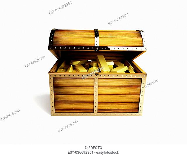 old wooden chest open on a white background
