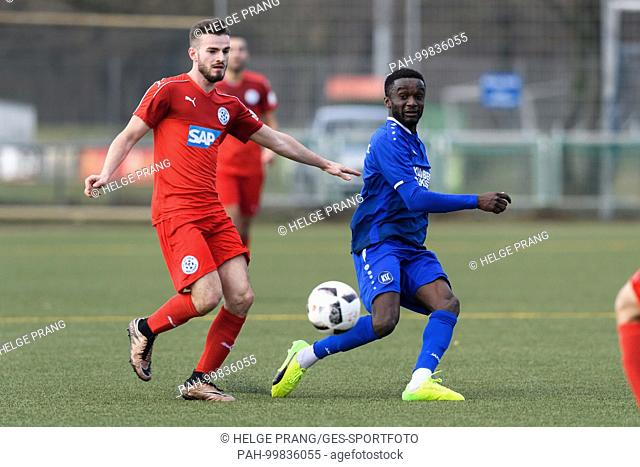 Kevin Moussa Traore (KSC) im duels with Mario Cancar (Walldorf)...GES/ Fussball/ Oberliga: Karlsruher SC 2 - FCA Walldorf 2, 18.02