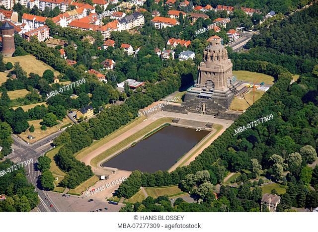 Aerial view, Monument to the Battle of the Nations, aerial view, Steinstraße, Leipzig, Saxony, Germany, Europe