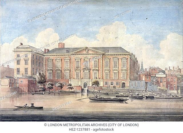 Fishmongers' Hall, London, 1826. View of Fishmongers' Hall, with boats on the River Thames