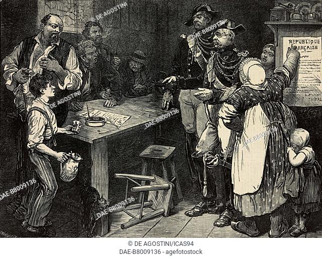 Scene in a cabaret in the North of France, engraving by Frederick Wentworth from The Illustrated London News, No 1679, November 18, 1871