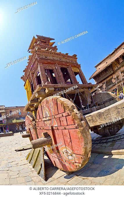 Bisket Jatra Festival Wooden Chariot, Durbar Square, UNESCO World Heritage Site, Patan, Latipur, Bhaktapur, Kathmandu, Nepal, Asia
