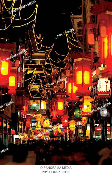 the Chinese Lantern Festival,Old Temple of Town God,Shanghai city