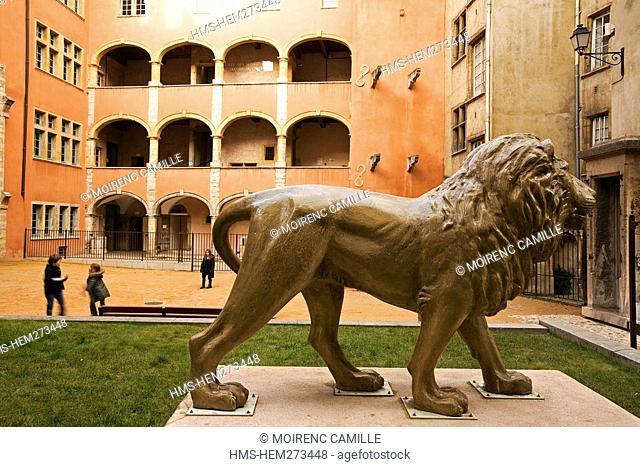 France, Rhone, Lyon, historical site listed as World Heritage by UNESCO, old town, Place de la Basoche Basoche Square