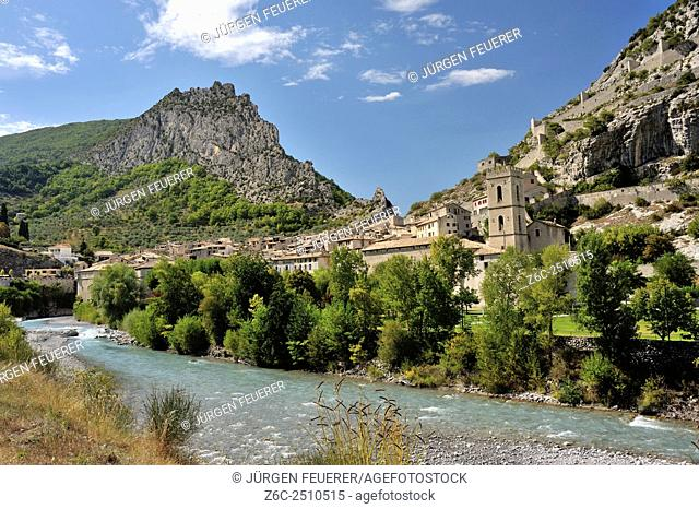 Entrevaux town at the bank of river Var, Alpes-de-Haute-Provence, French Alps, France