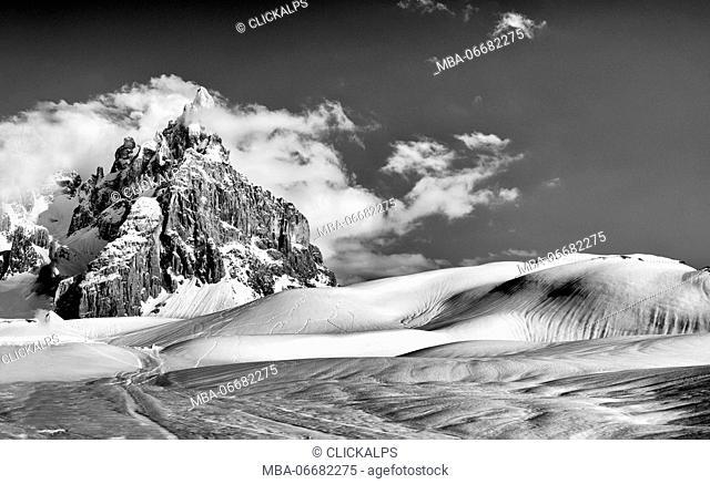 The Cimon della Pala, in the Pale di San Martino group, in a winter day, Dolomites (UNESCO heritage)