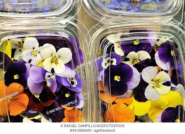 Edible flowers for sale in Sant Josep market (aka La Boqueria), Barcelona, Catalonia, Spain