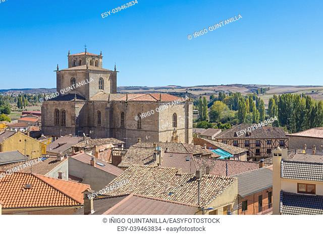 ciityscape with Parish of Santa Ana in Penaranda de Duero village, in Burgos, Castile and Leon, Spain, Europe