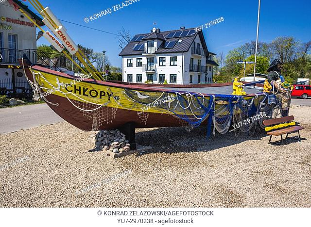 Old fishing boat in Chlopy village over Baltic Sea in Koszalin County, West Pomeranian Voivodeship of Poland