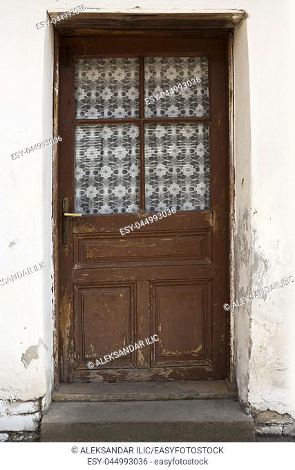 Old Vintage Wooden Door With Glass Window On It