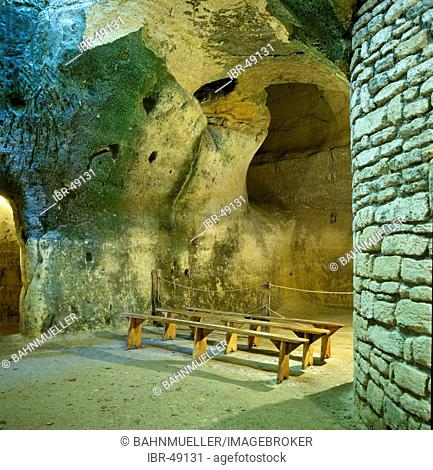 Rochemenier Departement Maine Loire France cave dwelling dug in shelly limestone underground church