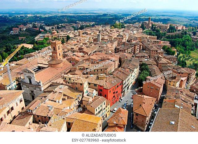 View over medieval town Siena in Tuscany, Italy