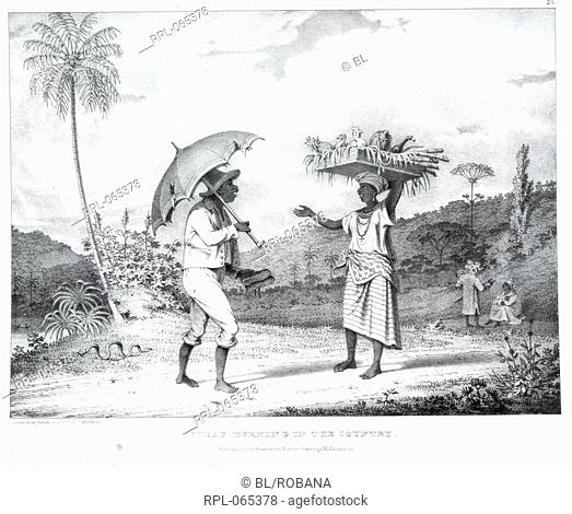 Sunday morning in the country, 'Sunday morning in the country'. Two Negroes converse. One holds a parasol and the other, a box containing fruit and fowl