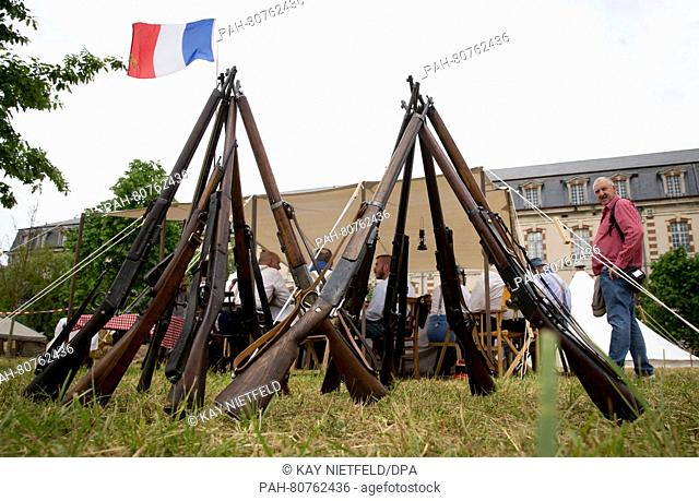 Historical weapons have been arranged into a pyramid in a camp from a traditional club in Verdun, France, 28 May 2016. The memorial celebration for the 100th...