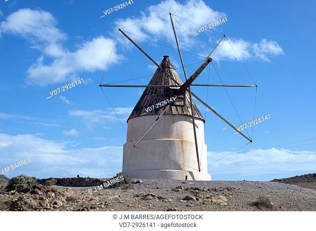 Traditional windmill in Cerro del Ave Maria, Cabo de gata-Nijar Natural Park, Almeria province, Andalucia, Spain